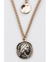 BoohooMAN Dual Coin Pendant Layered Chain - Metallic