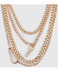 BoohooMAN Iced Out Multi Layer Key Necklace - Metallic