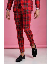 BoohooMAN Pantalon à carreaux tartan avec chaîne super skinny - Rouge