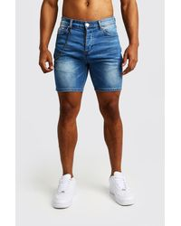 BoohooMAN Skinny Fit Denim Shorts With Chain Detail - Blue