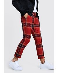 BoohooMAN Tartan Cropped Trousers With Turn Up - Red