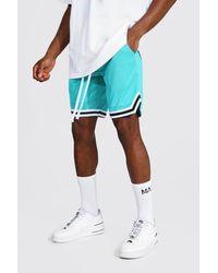 BoohooMAN Short basketball en tulle à bande - Bleu