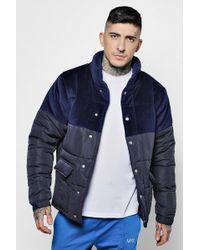 Boohoo - Velour Panel Padded Jacket - Lyst