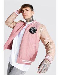 BoohooMAN Man Badge Corduroy Varsity Bomber - Pink