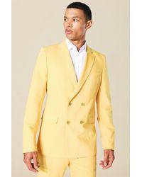 BoohooMAN Tall zweireihiger Skinny Blazer - Gelb