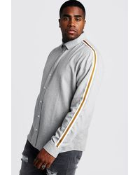 BoohooMAN - Big & Tall Melange Shirt With Side Tape - Lyst
