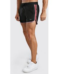 BoohooMAN Man Official Runner Swim Short With Tape - Black