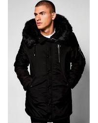 BoohooMAN Ma1 Parka With Faux Fur Hood - Black