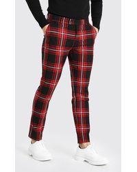BoohooMAN Skinny Tartan Smart Pants - Red