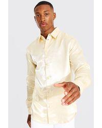 BoohooMAN Langärmliges Slim Hemd aus Satin - Mettallic