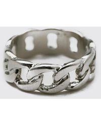 BoohooMAN Mini Chain Ring - Metallic