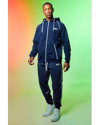 BoohooMAN Man Trainingsanzug mit Detail und Reißverschluss - Blau
