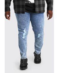 BoohooMAN Big And Tall Skinny Fit Jeans mit Acid-Waschung - Blau