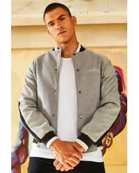 Boohoo - Dele Wool Look Smart Bomber Jacket With Embroidery - Lyst