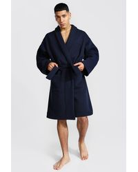 BoohooMAN Man Signature Heavy Jersey Dressing Gown - Blue