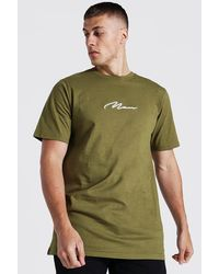 BoohooMAN Man Signature Longline T-shirt - Green