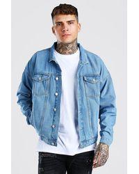 BoohooMAN Oversized Denim Jacket - Blue