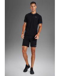 BoohooMAN Tall Man Active Shorts-Set mit geripptem Detail - Schwarz