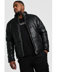 BoohooMAN Big And Tall Faux Leather Puffer - Black