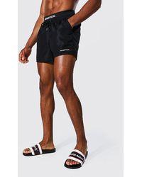 BoohooMAN Man Waistband Short Length Swim Short - Black
