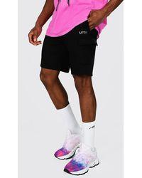 BoohooMAN Original Man Mid Length Cargo Jersey Shorts - Black