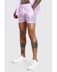BoohooMAN Border Print Shorts - Pink