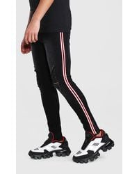 BoohooMAN Super Skinny Distressed Jeans With Reflective Tape - Noir