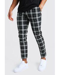 BoohooMAN Mono Tartan Cropped Smart Trousers - Black