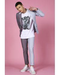 BoohooMAN Pantalon de costume skinny court bicolore - Bleu
