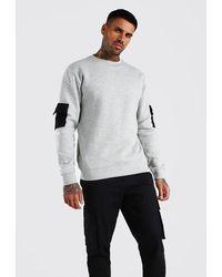 BoohooMAN Contrast Pocket Utility Sweatshirt - Grey