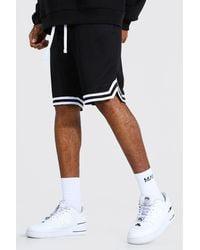 BoohooMAN Tall Mesh Basketball Shorts With Tape - Black