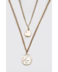 BoohooMAN Collier à chaîne double rang avec pendentifs pièces de monnaie - Métallisé