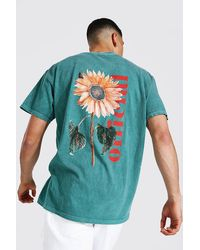BoohooMAN Oversized Official Floral Overdyed T-shirt - Green