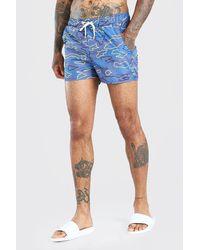 BoohooMAN Camo Print Short Length Swimshort - Grey