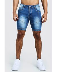 BoohooMAN Skinny Fit Denim Shorts With Biker Panelling - Blue