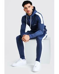 BoohooMAN MAN Signature Muscle Fit Panelled Tracksuit - Bleu
