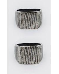 BoohooMAN 2 Pack Embossed Signet Ring Set - Metallic