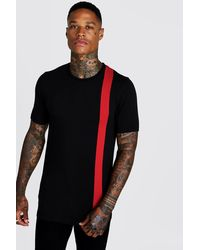 BoohooMAN T-shirt coupe moulante à blocs de couleurs - Noir