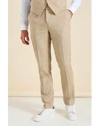 BoohooMAN Slim Anzughose aus Leinen - Braun