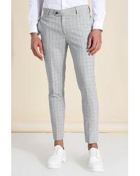 BoohooMAN Super Skinny Check Suit Trouser - Grau