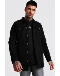 BoohooMAN Longline Denim Jacket - Black
