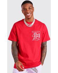 BoohooMAN Slogan Front & Back Print T-shirt - Red