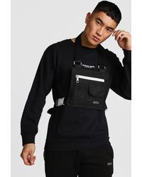 BoohooMAN Flat Overall Chest Rig - Black