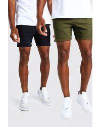 BoohooMAN 2er-Pack Skinny-Fit Chino-Shorts - Mehrfarbig
