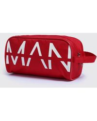 BoohooMAN Man Print Washbag - Red