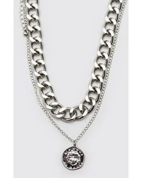 BoohooMAN Double Layer Chunky Chain Necklace - Grey