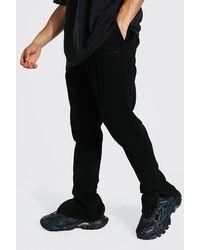 BoohooMAN Slim Fit Man Official Split Hem Jogger - Black