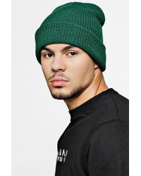 0e6b2bbe64c Lyst - Boohooman Rib Knit Beanie Hat in Gray for Men