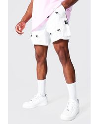 BoohooMAN Loose Fit All Over Toggle Cargo Short - Weiß