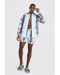 BoohooMAN Set aus langärmeligem Hemd mit Barock-Print und Shorts - Blau